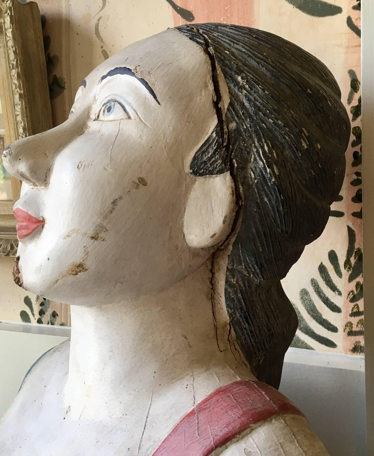 Wood Antique Carved and Decorated Ship's Figurehead, circa 1890 For Sale
