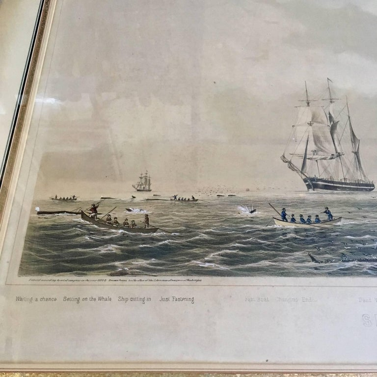 Other 19th Century Colored Lithograph of Sperm Whaling with Its Varieties, 1870 For Sale