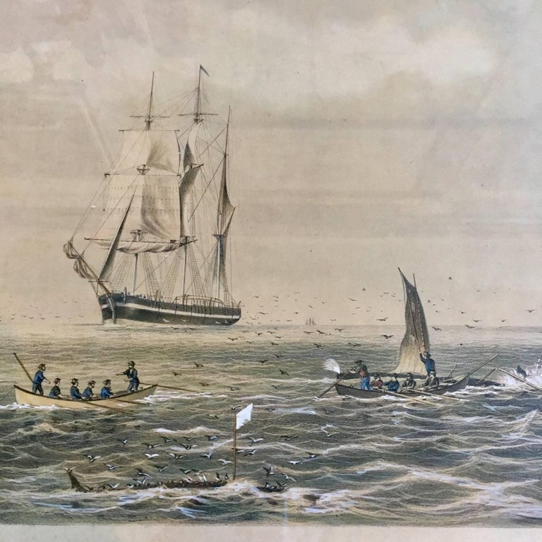 Fine colored lithograph of Sperm Whaling with its Varieties, after Original by Benjamin Russell (New Bedford: 1804-1885), Published by John Henry Bufford (Boston: 1810-1870), Artist's Proof printed in 1870, a colored lithographed finished by hand,