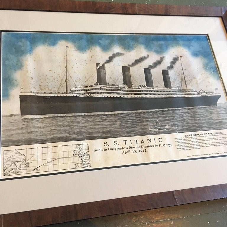 "Period printed broadside of the titanic catastrophe, published on April 15, 1912, a colored print of the ""Titanic"" on the high seas, with her history and statistics, ship's course, and description of the wreck detailed across the bottom. This"
