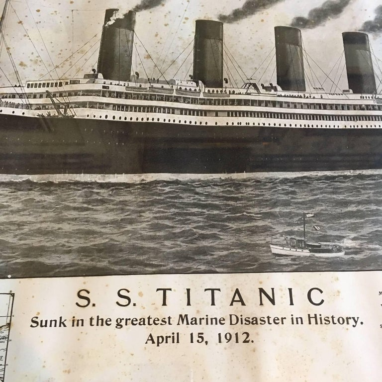Edwardian Period Printed Broadside of the Titanic Catastrophe, Published on April 15, 1912 For Sale