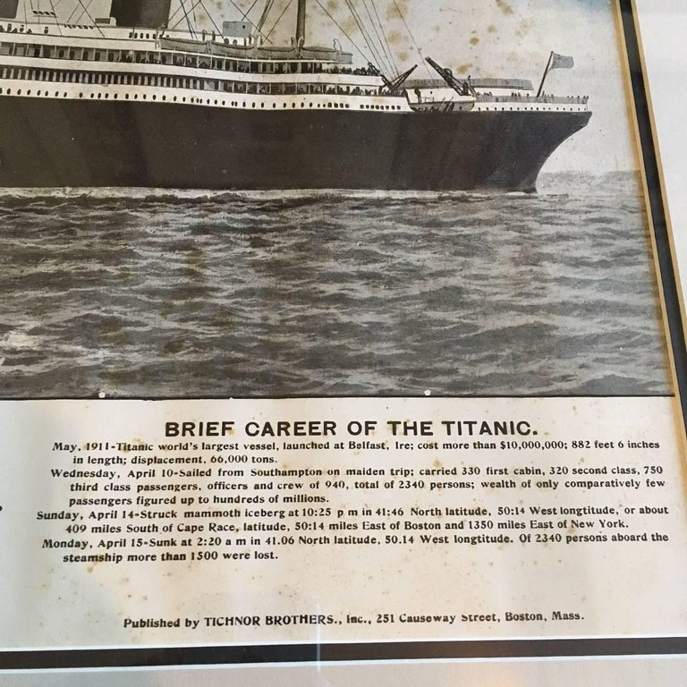 American Period Printed Broadside of the Titanic Catastrophe, Published on April 15, 1912 For Sale