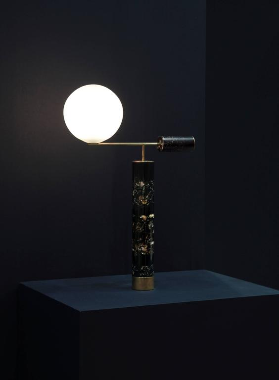 Table lamp, 2017  Brass, flowers, resin, handblown glass  White or black resin version available  Unique piece.  Measures: H 23.6