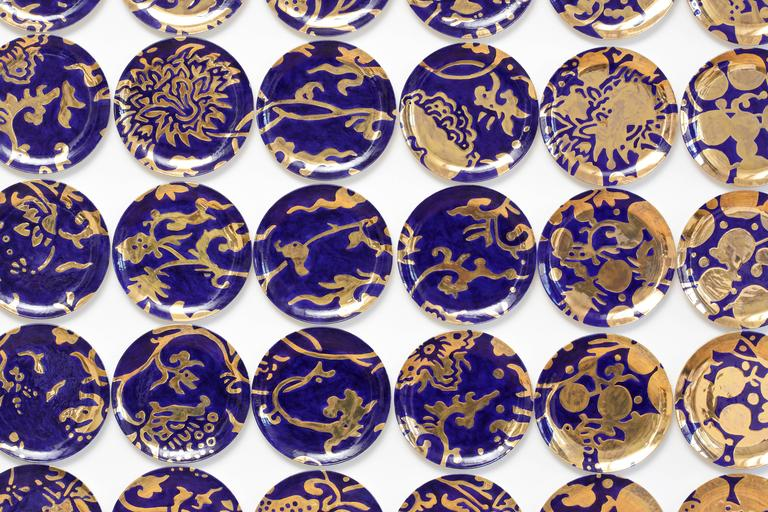 Gilt Molly Hatch Verse Ceramic Plate Wall Installation, USA, 2016