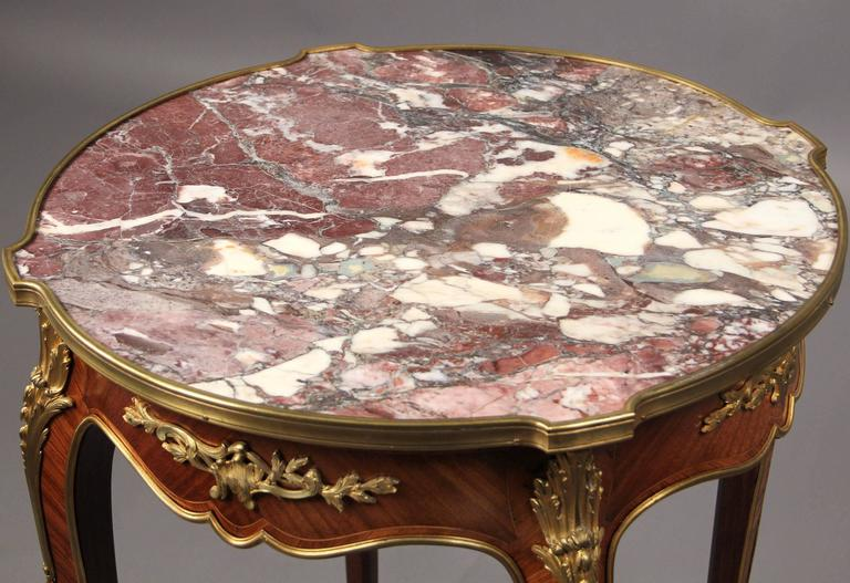 French Late 19th Century Gilt Bronze-Mounted Marble-Top Lamp Table For Sale