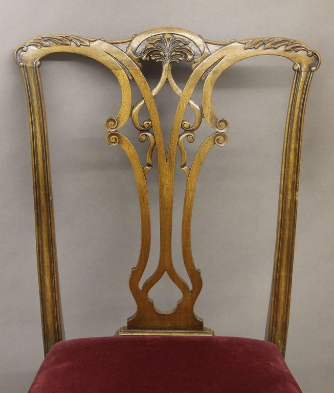 Belle Époque Set of Eight Late 19th-Early 20th Century Chippendale Style Dining Chairs For Sale