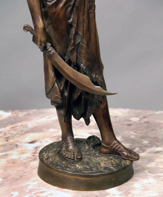 Belle Époque Late 19th Century Bronze Sculpture of a Female Warrior by E. Drouot For Sale
