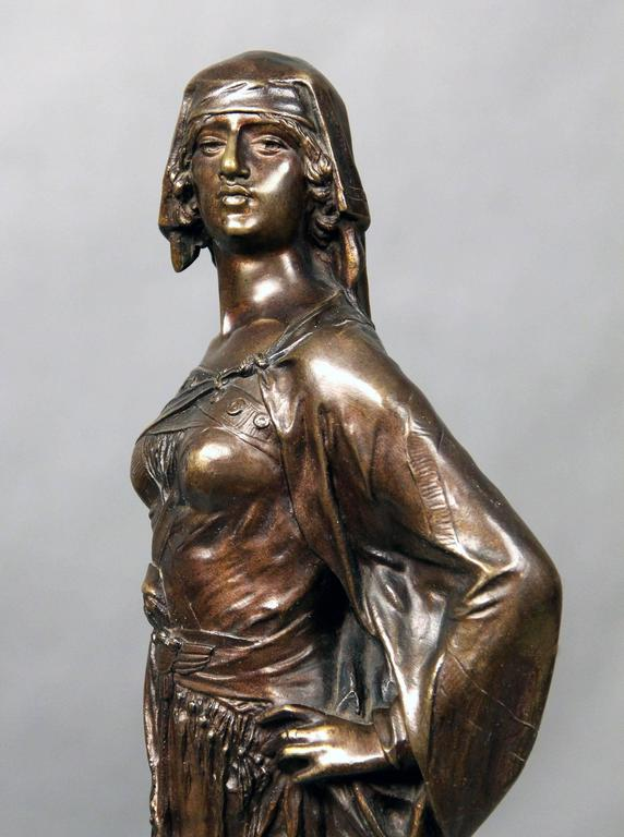Late 19th century bronze sculpture of a female warrior with sword
