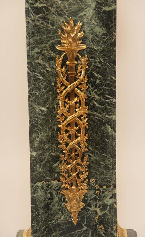 French Fine Late 19th Century Gilt Bronze Mounted Empire Style Marble Pedestal For Sale