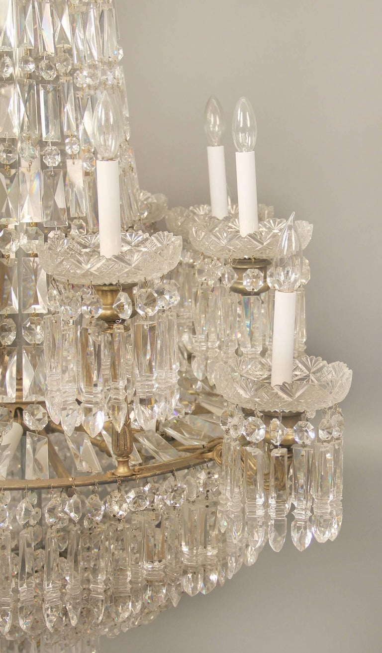 Bronze Exceptional Early 19th Century Waterford Crystal Eighteen-Light Chandelier For Sale