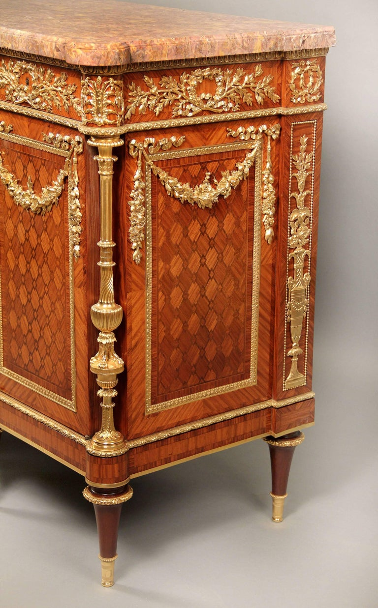 French Fantastic Late 19th Century Gilt Bronze and Parquetry Commode by Zwiener Jansen For Sale