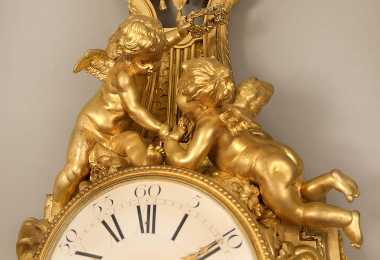 French Unique Late 19th-Early 20th Century Gilt Bronze Cartel Clock by François Linke For Sale