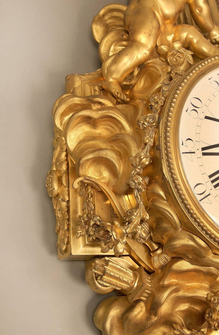 Unique Late 19th-Early 20th Century Gilt Bronze Cartel Clock by François Linke In Good Condition For Sale In New York, NY