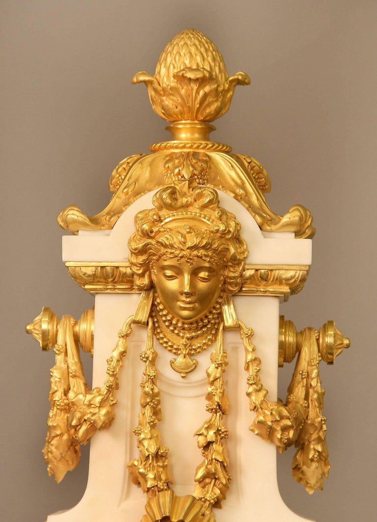 Belle Époque Exceptional Late 19th Century Three-Piece Clock Set by Ferdinand Gervais For Sale