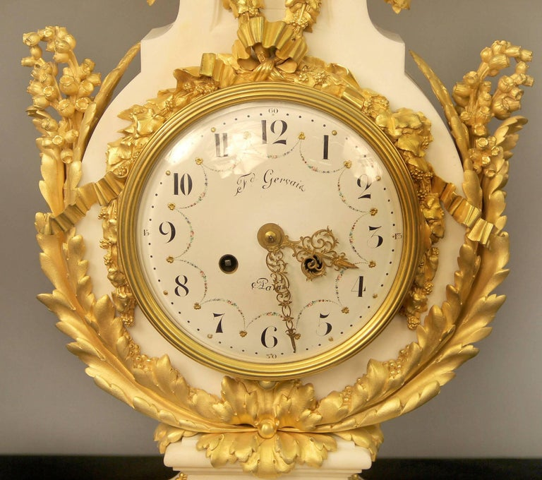 French Exceptional Late 19th Century Three-Piece Clock Set by Ferdinand Gervais For Sale