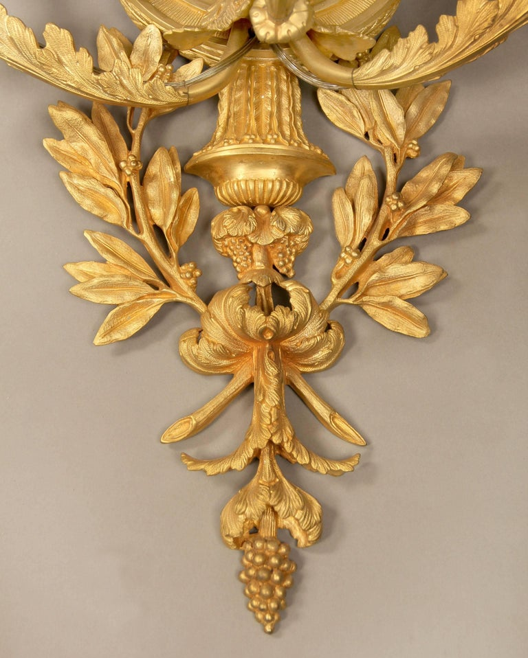 Large and Elaborate Pair of Early 20th Century Gilt Bronze Five-Light Sconces In Excellent Condition For Sale In New York, NY