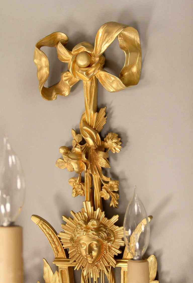 Belle Époque Large and Elaborate Pair of Early 20th Century Gilt Bronze Five-Light Sconces For Sale