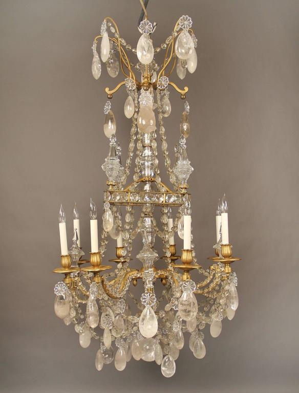Lovely Late 19th Century Bronze and Rock Crystal Chandelier by Gagneau Frères 2