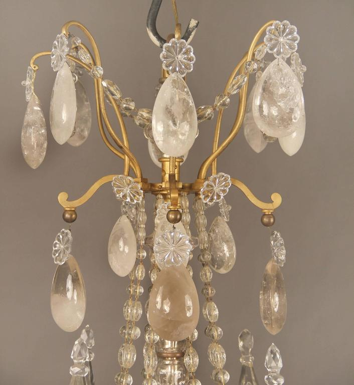 Lovely Late 19th Century Bronze and Rock Crystal Chandelier by Gagneau Frères 3