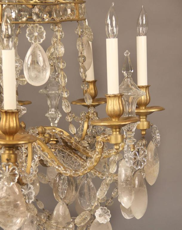 Lovely Late 19th Century Bronze and Rock Crystal Chandelier by Gagneau Frères 6