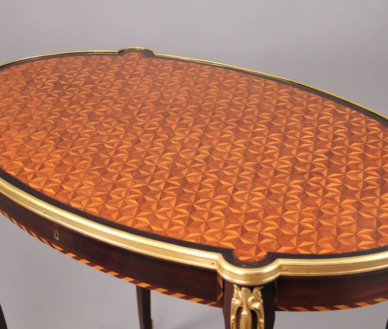 French Late 19th Century Gilt Bronze Mounted Parquetry-Top Center Table For Sale