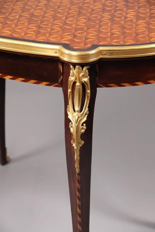Belle Époque Late 19th Century Gilt Bronze Mounted Parquetry-Top Center Table For Sale