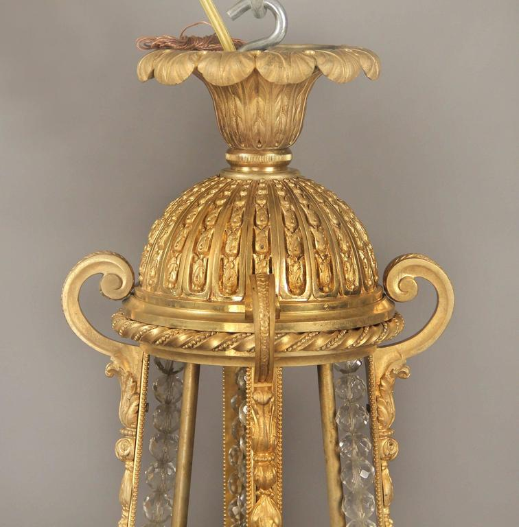 French Wonderful Late 19th Century Gilt Bronze and Beaded Chandelier For Sale
