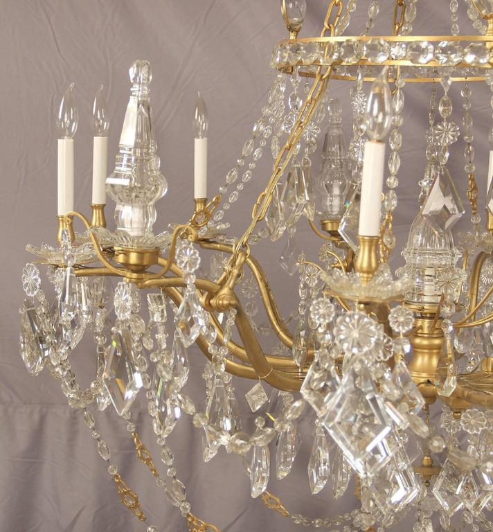 Palatial and unique gilt bronze and crystal chandelier maison jansen france at 1stdibs - Unique crystal chandeliers ...