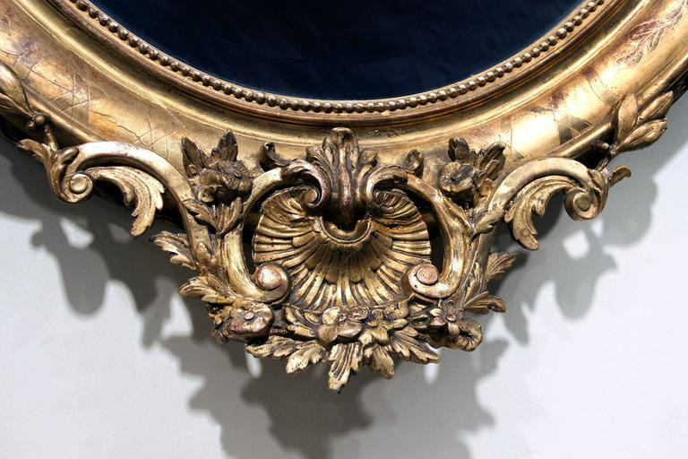 Belle Époque Fine Late 19th Century Carved Giltwood and Gesso Mirror For Sale