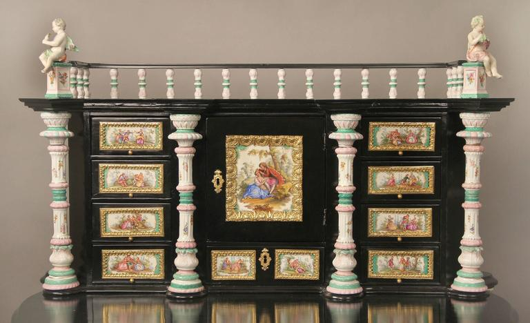 Belle Époque Lovely Late 19th Century Gilt Bronze-Mounted German K.P.M. Porcelain Desk For Sale