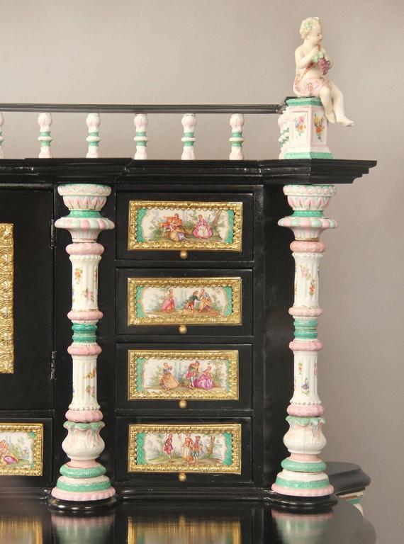 Ebonized Lovely Late 19th Century Gilt Bronze-Mounted German K.P.M. Porcelain Desk For Sale
