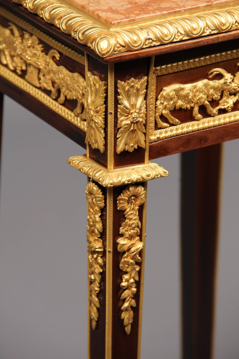 Belle Époque Very Fine Late 19th Century Gilt Bronze-Mounted Marble-Top Pedestal For Sale
