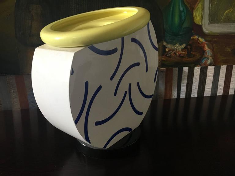 """Ceramic """"Cucumber"""" vase designed by Martine Bedin, circa 1985, manufactured by Flavia."""