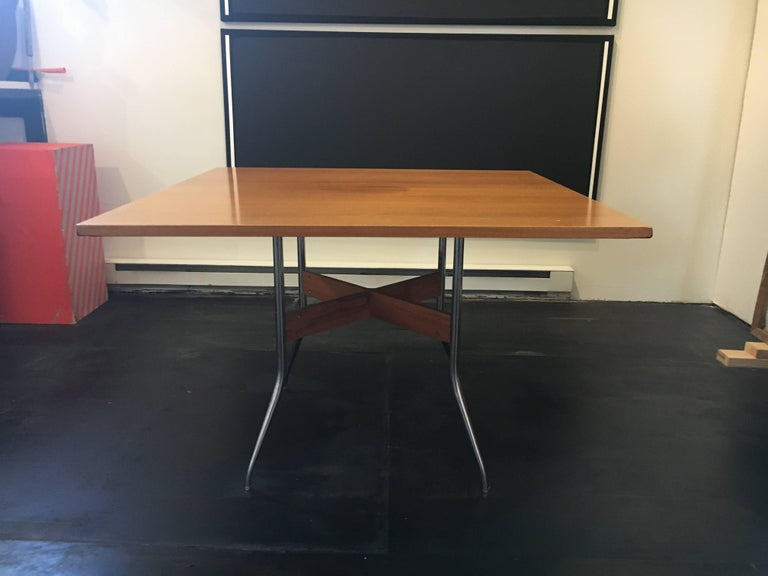 "Rare George Nelson Square ""Swag Leg"" Dining Table for Herman Miller, 1950 2"