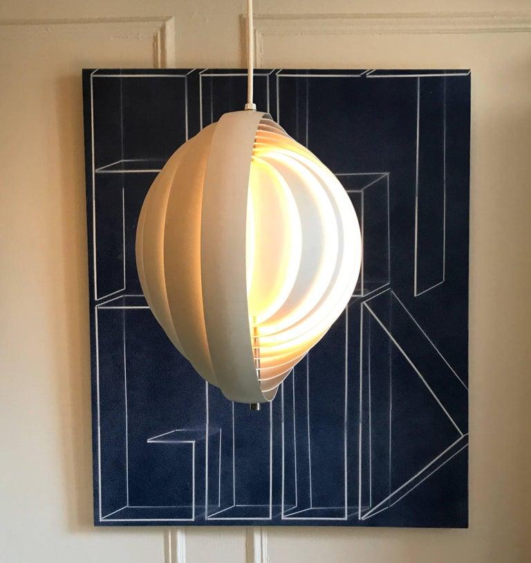 """Moon"" pendant designed by Verner Panton for Louis Poulsen, Denmark, circa 1960."
