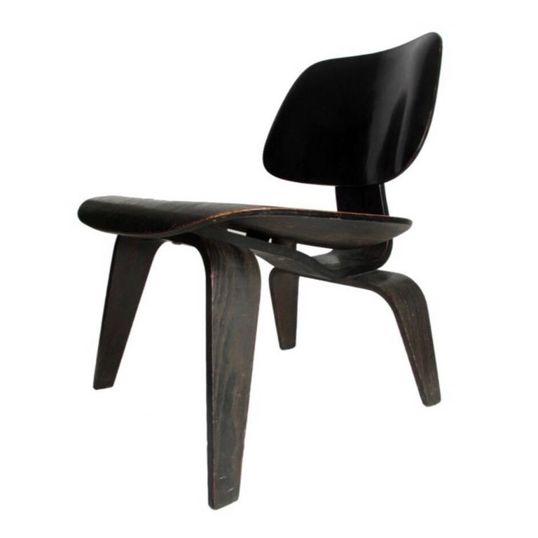 Charles & Ray Eames Black Aniline LCW Chair Herman Miller