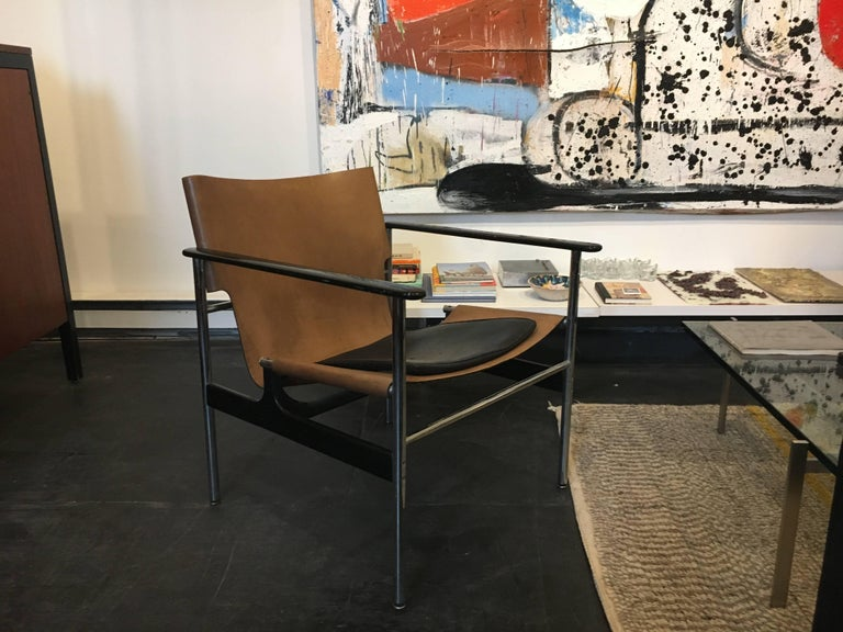 Charles Pollock Sling Lounge Chairs, Pair for Knoll 1960 In Good Condition For Sale In Brooklyn, NY