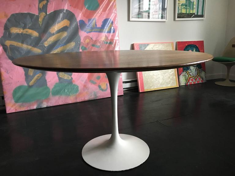 Eero Saarinen Walnut Tulip Dining Table for Knoll 4