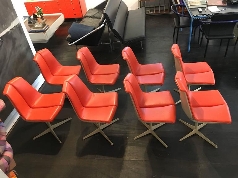Mid-Century Modern Set of Eight Richard Schultz Dining Chairs Knoll, 1961 For Sale