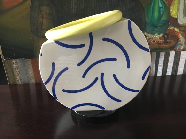"Italian ""Cucumber"" Vase by Martine Bedin 1985 Memphis Milano For Sale"