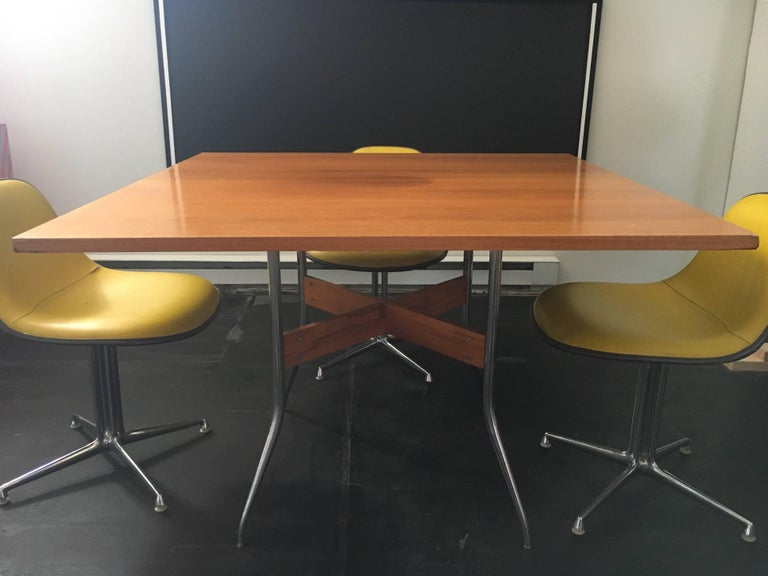"Rare George Nelson Square ""Swag Leg"" Dining Table for Herman Miller, 1950 3"