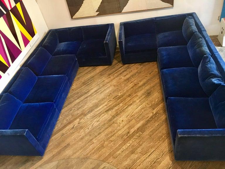 Mid-Century Modern Velvet Sectional Sofa by Charles Pfister for Knoll For Sale