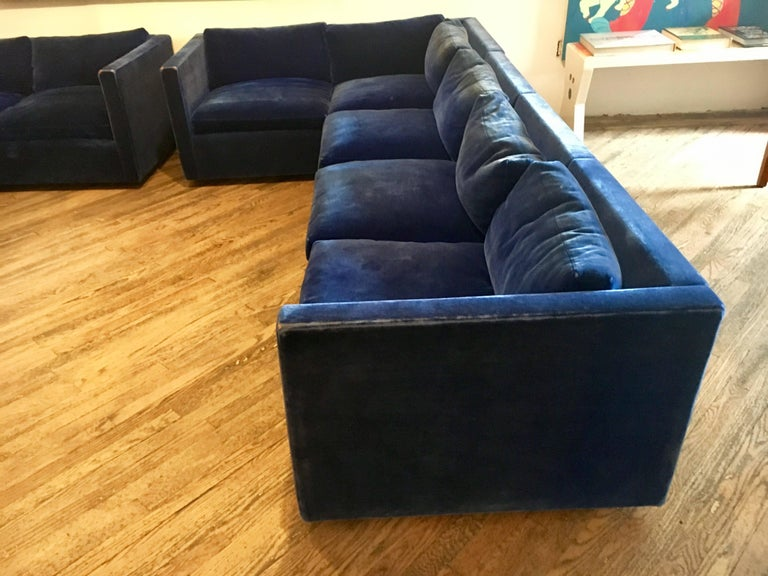 American Velvet Sectional Sofa by Charles Pfister for Knoll For Sale