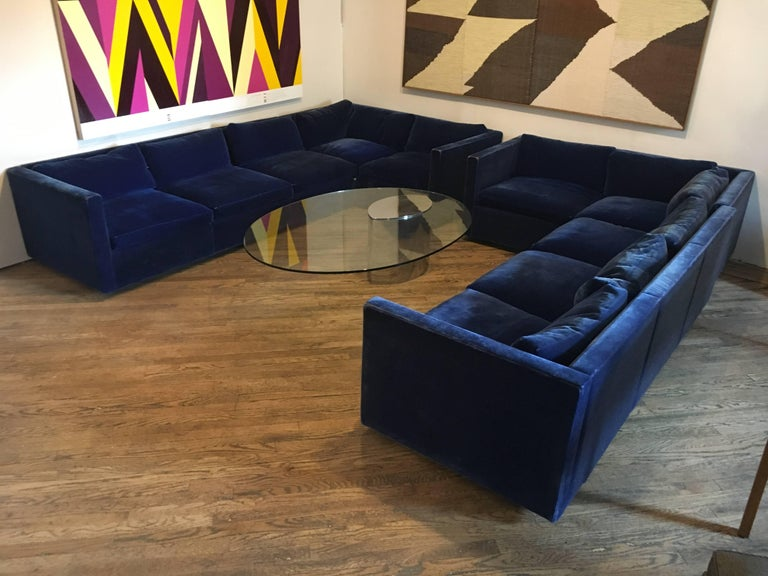 Late 20th Century Velvet Sectional Sofa by Charles Pfister for Knoll For Sale