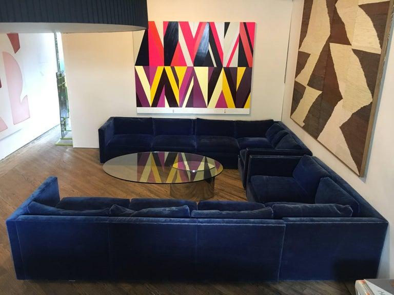 Velvet Sectional Sofa by Charles Pfister for Knoll For Sale 1
