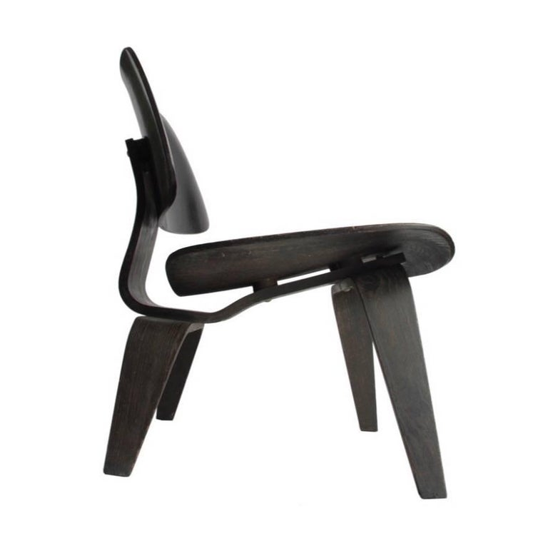 Charles & Ray Eames Black Aniline LCW Chair Herman Miller 2