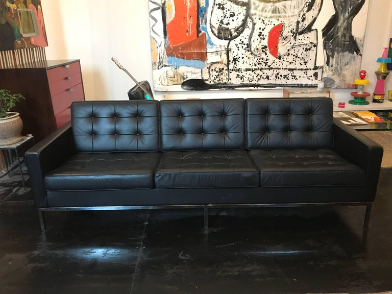 American Florence Knoll Three-Seat Sofa Black Leather For Sale