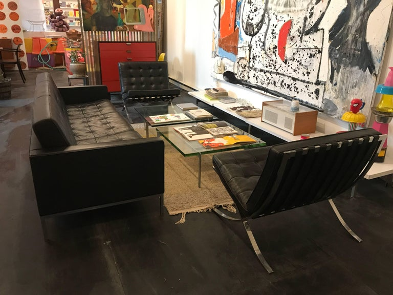 Ludwig Mies van der Rohe Pair of Barcelona Chairs, Knoll, Black Leather In Excellent Condition For Sale In Brooklyn, NY