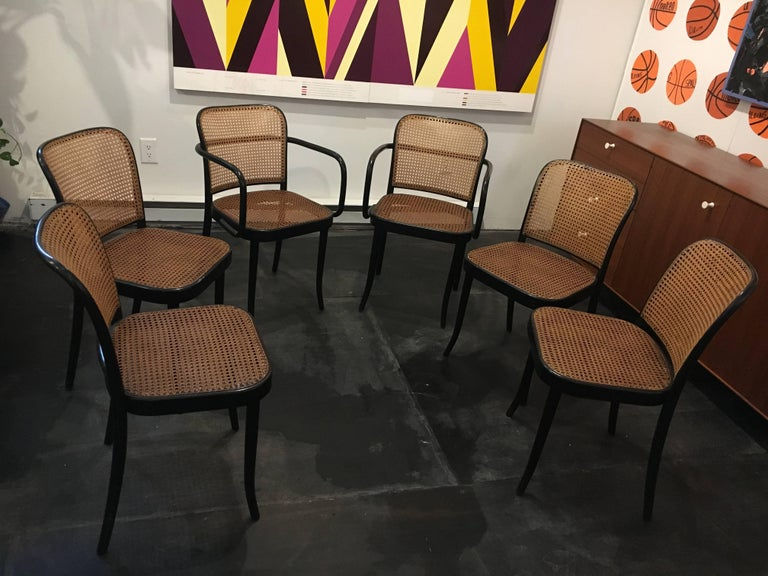 Set of six, two arm and four side chairs, designed by Josef Frank & Josef Hoffmann in the 1920s.