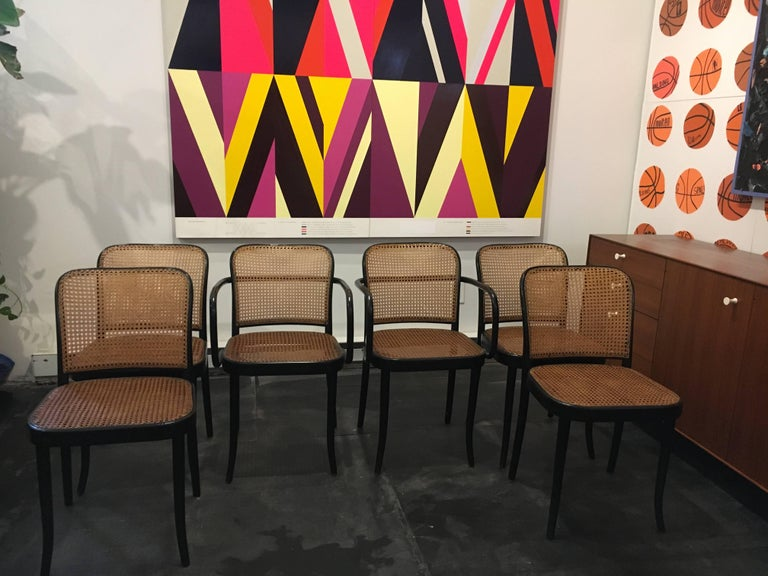 Bauhaus Set of Six Modern Cane Dining Chairs Josef Frank For Sale